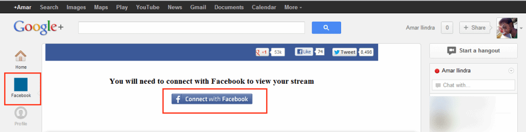 how to connect google to facebook