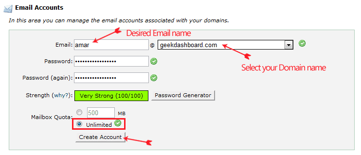 free email account with your domain name