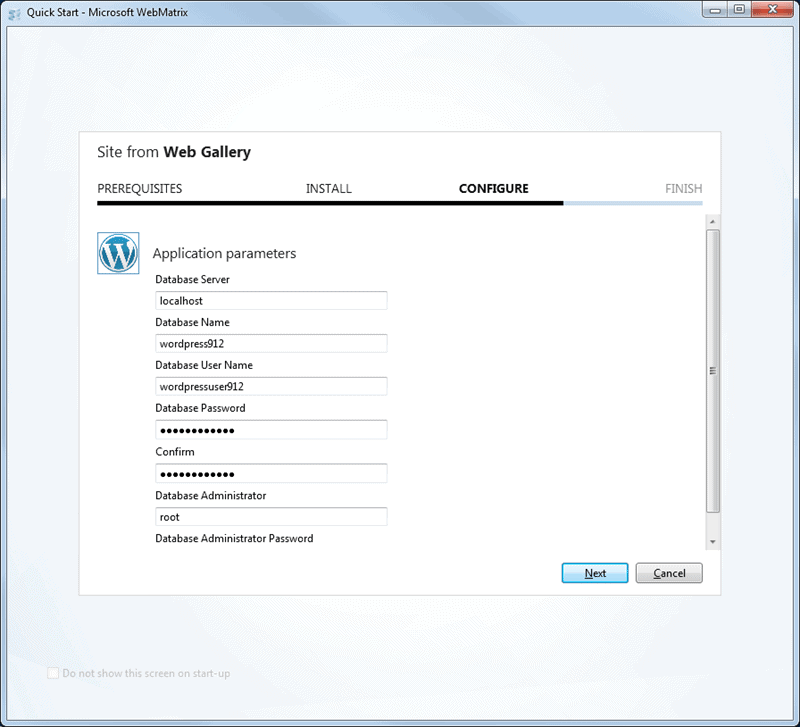 Installing Wp using Webmatrix