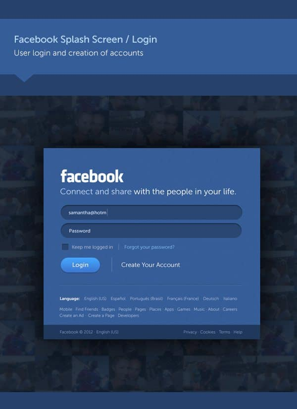 new login page of Facebook