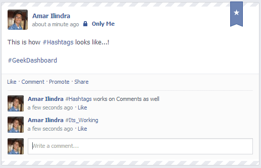Hashtags in Facebook