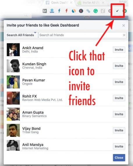 How To Invite All Friends to like Facebook Page in Single Click