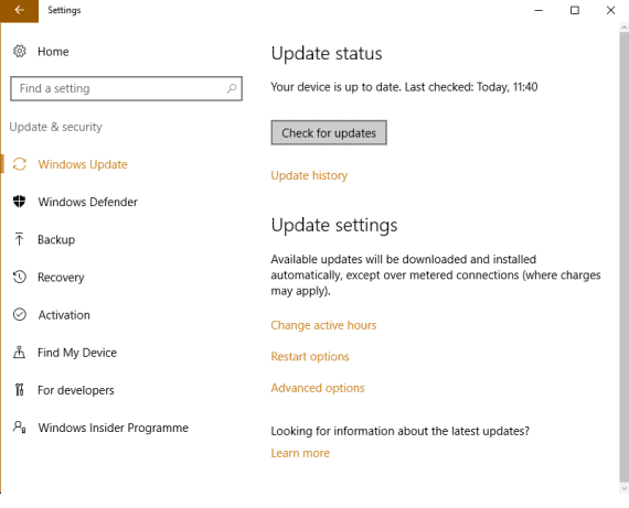 Turn Off Automatic Updates in Windows 10 - Check for Updates