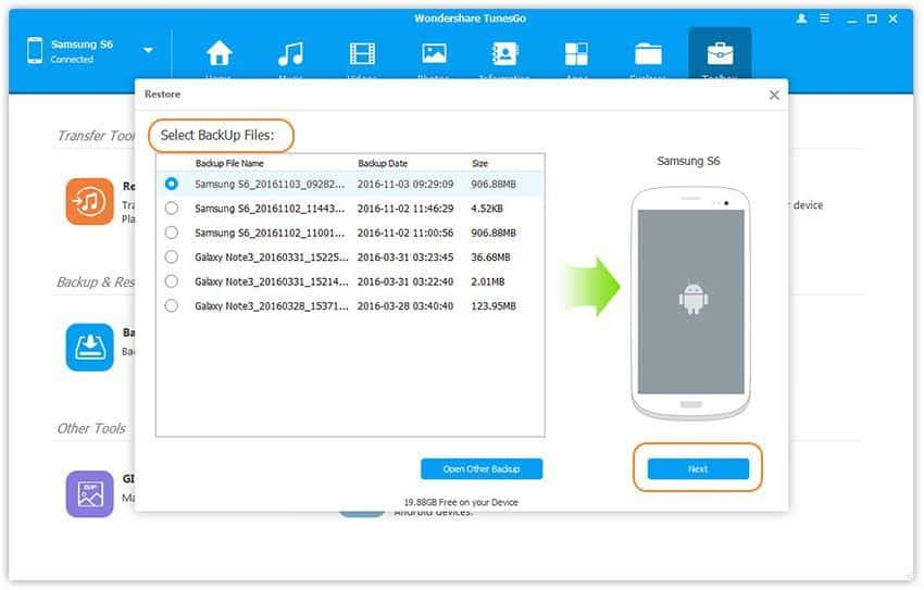 backup and restore Samsung smartphones data