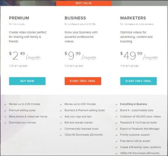 best online video editor by Magisto price details