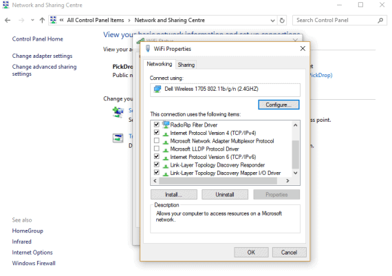 Network and Sharing Center to Fix Error 651