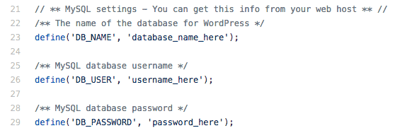 Get MySQL username, password and database name from wp-config.php file