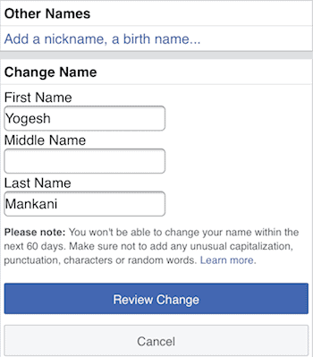 How to remove last name on Facebook from mobile