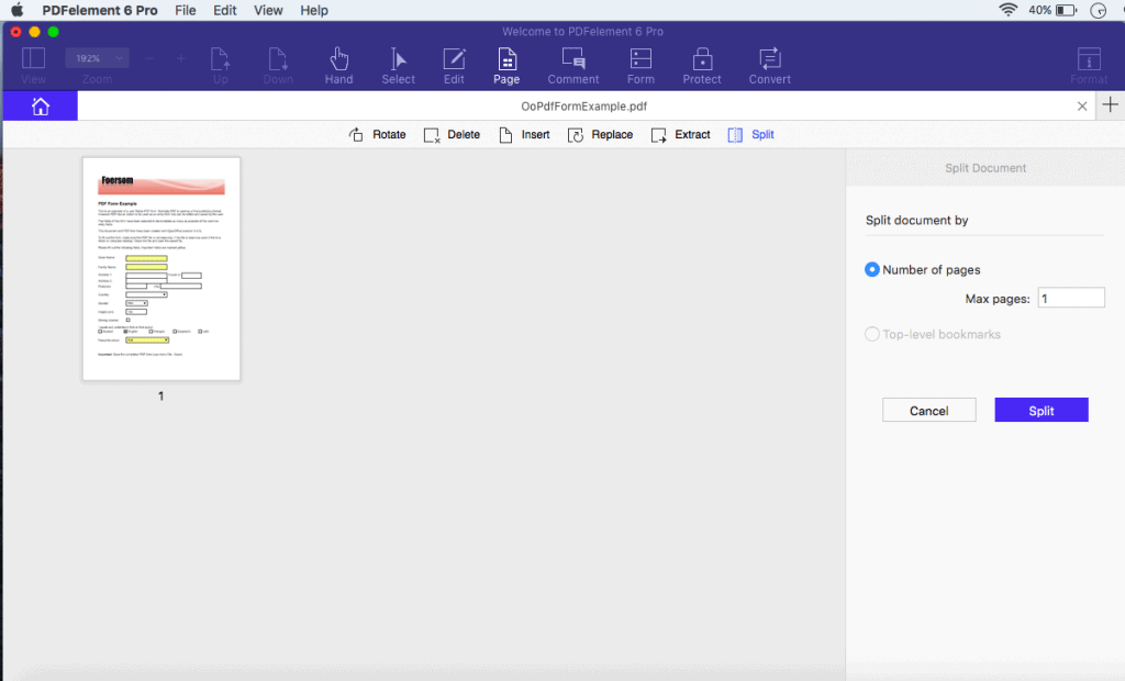 Split the scanned PDF to 1 page per invoice