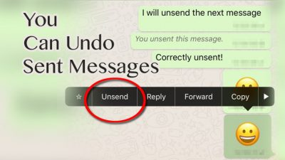undo or recall sent messages in WhatsApp