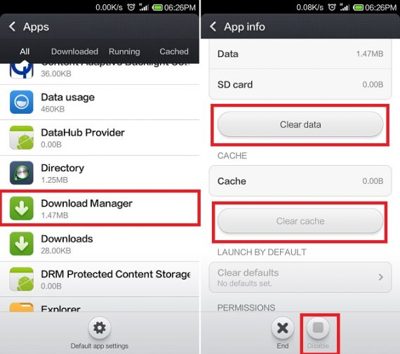 Clear Data and Cache for Download Manager