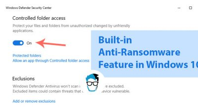 anti ransomware feature in Windows 10