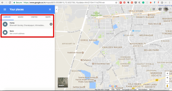 Find for Home and Work option under your places