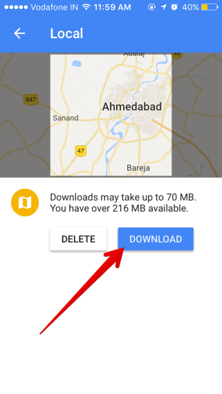 Tap on download button to save map