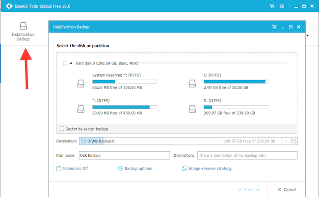 Disk/Partition Backup for Windows 10