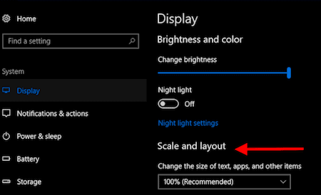 Windows 10 text and icon size settings