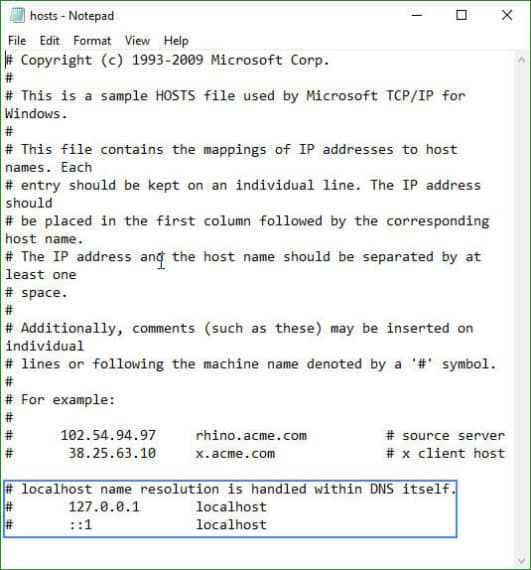 Edit hosts file to delete blocked ip