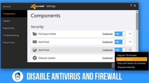 disable antivirus and firewall