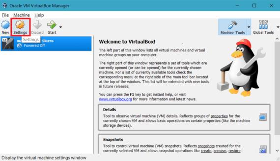 Open virtual machine settings