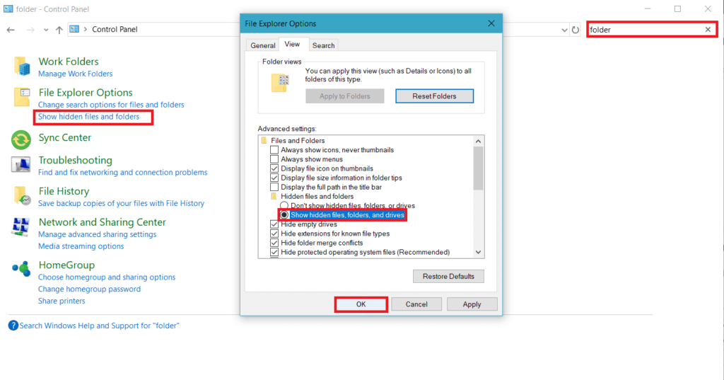 Select Show Hidden Files and Folders