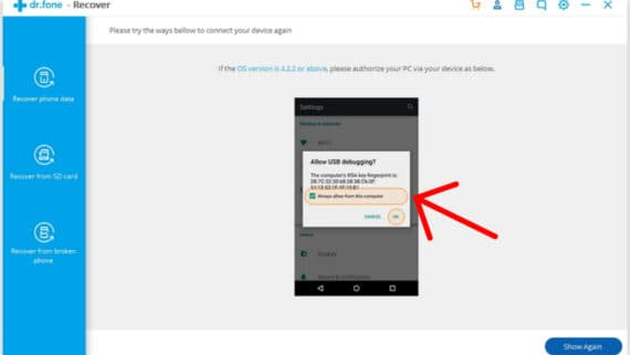 Allow USB debugging to retrieve the deleted contacts on Android mobile