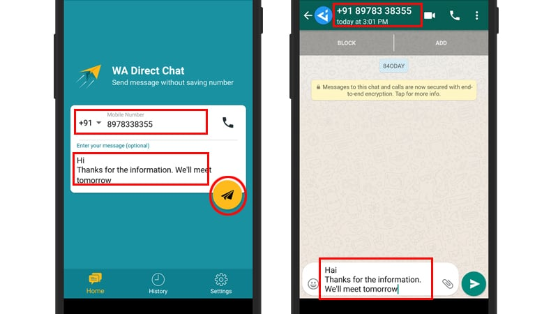 How to Send WhatsApp Messages without Saving Contact Number