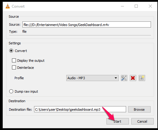 Click Start to convert VLC files to MP3 format