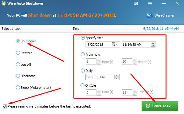 Auto shutdown Windows using Wise Auto Shutdown