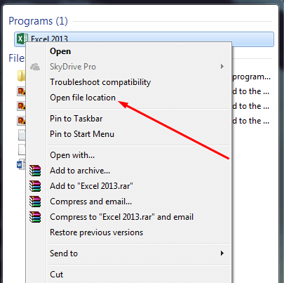 Open MS Excel File Location