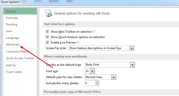 Open MS Excel Options and Select Advanced