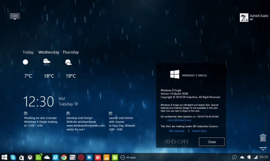 Windows 9 Single Mark 4 Rainmeter Skin