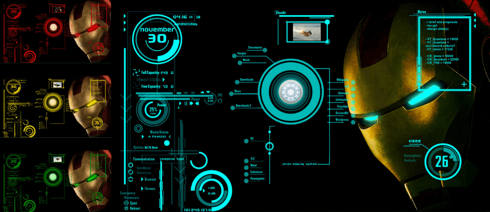 Ironman Jarvis V2 Rainmeter Skin for Windows