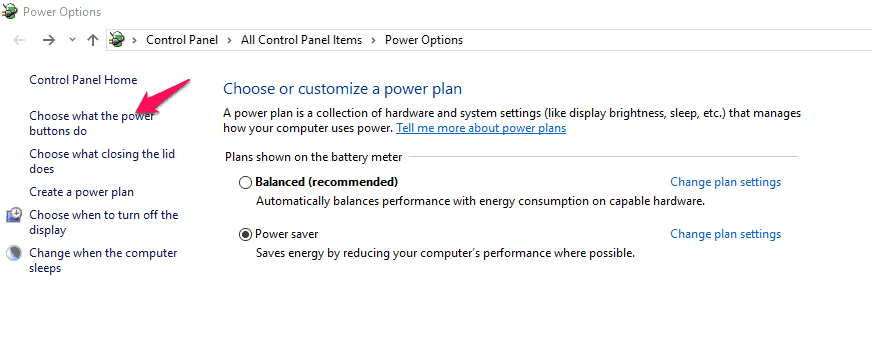 """Click """"Choose what the power buttons do"""" option"""