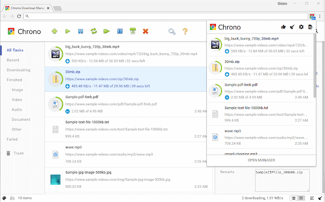 Chrono Download Manager to accelerate download speeds in Chrome browser