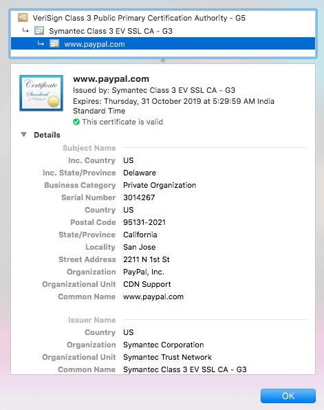 PayPal SSL Certificate Details