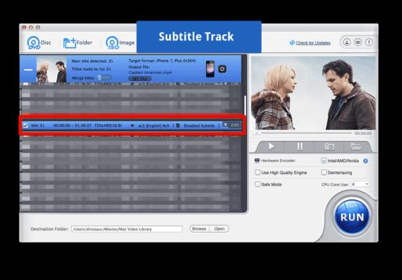 Choose Subtitles track