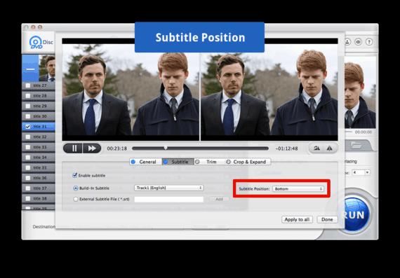 Choose Subtitles Position