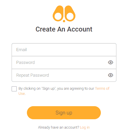 Create an account on FoneMonitor by entering email and password