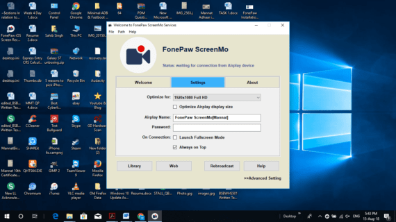 Configure ScreenMo software to mirror iPhone screen on Windows laptop or PC