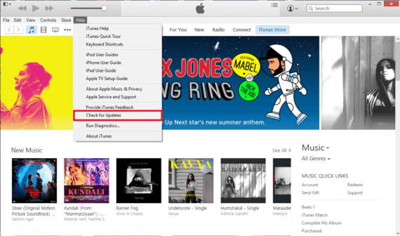Click on Help and then Check for Updates to update your iTunes