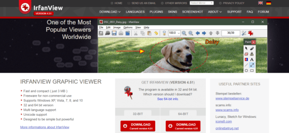 Irfanview photo viewers for Windows with filters of Adobe Photoshop
