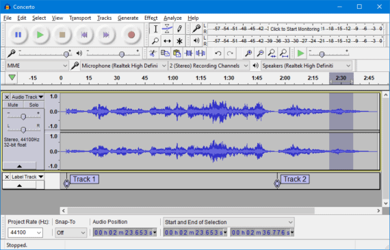 Audacity is a free music editing software