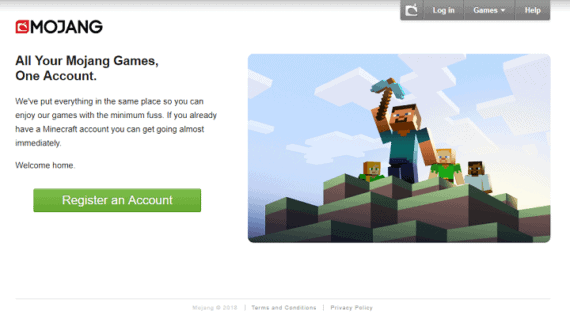 Mojang Registration and Login Page