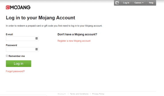 Mojang login page to enter e-mail and password