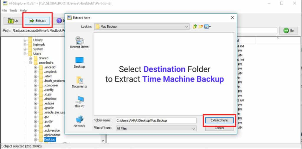 Choose location to extract time machine backup
