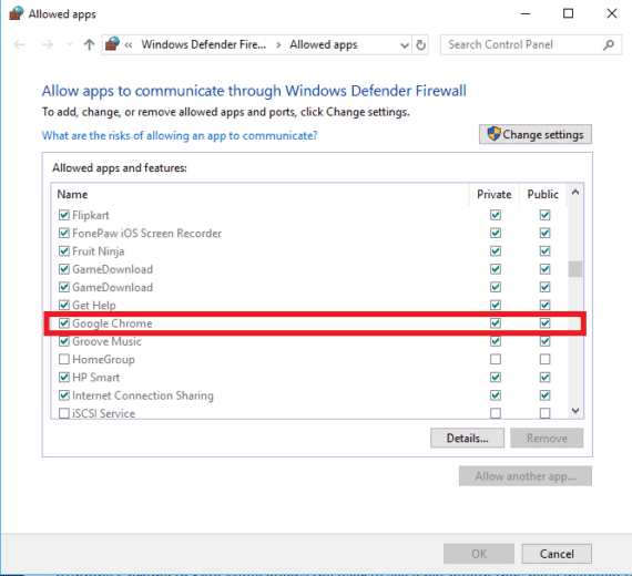 Tick Private and Public boxes to allow Google Chrome through firewall