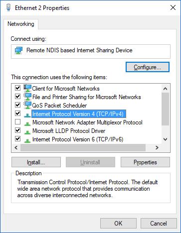 Open Internet Protocol Version 4 (TCP/IPv4) or Internet Protocol Version 6 (TCP/IPv6)