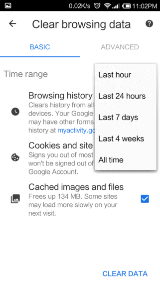 Clear Google Chrome Cache and History