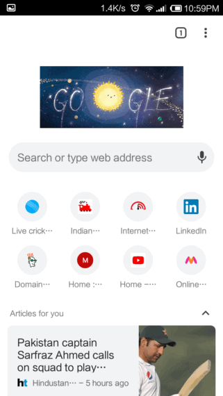 Google Chrome on Android Showing recently visited pages and personalized articles