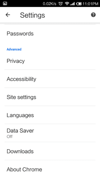 Google Chrome Settings Options in Android